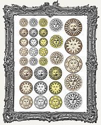 32 Vintage Sun Circle Face Paper Cuts