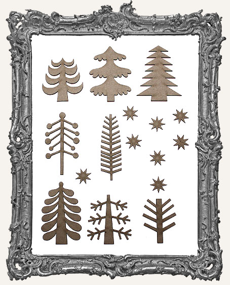 Funky Retro Christmas Tree Cut-Outs Set 1 - 16 Pieces