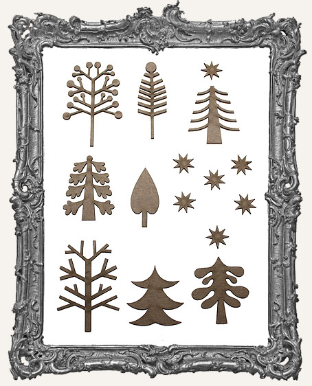 Funky Retro Christmas Tree Cut-Outs Set 2 - 16 Pieces