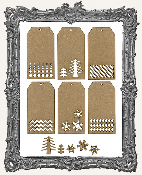 Chipboard Christmas Magic Tags - Set of 6