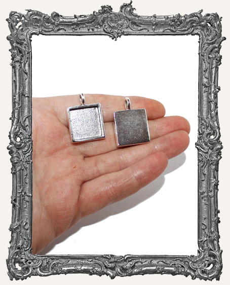 Small Square Antique Silver Pendant Bezel