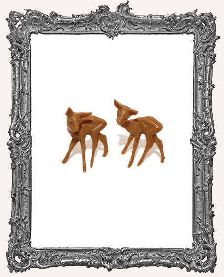 Tiny Brown Deer 1 Inch - Set of 2