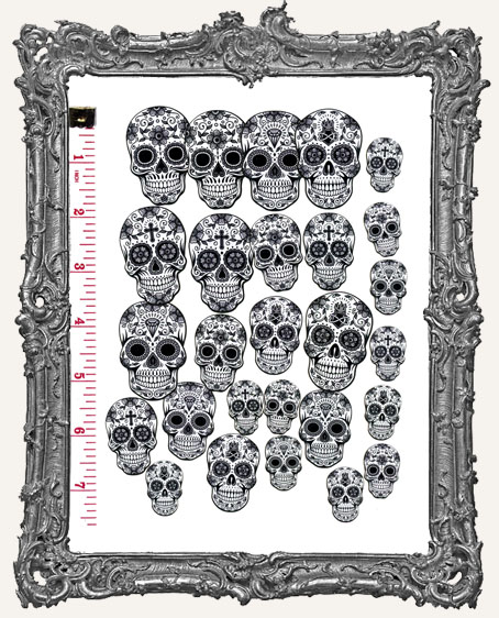 28 Sugar Skull Paper Cuts - Black and White