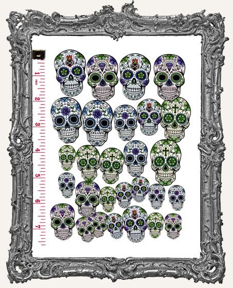 28 Sugar Skull Paper Cuts - Cool Colors