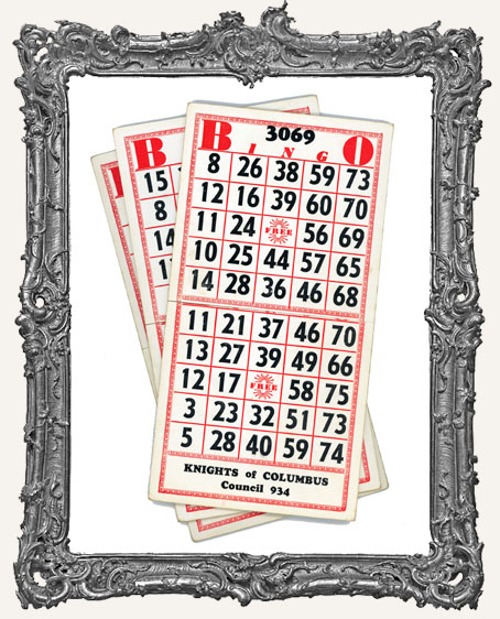 Heavy Double Red Cardboard Vintage Bingo Card