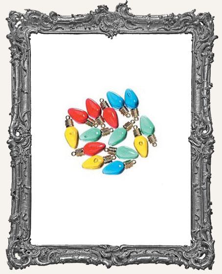 Assorted Transparent Flat Back Plastic Bulb Ornaments - 18 pieces