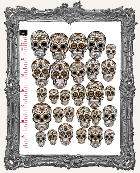 28 Sugar Skull Paper Cuts - Vintage