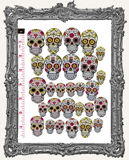 28 Sugar Skull Paper Cuts - Warm Colors