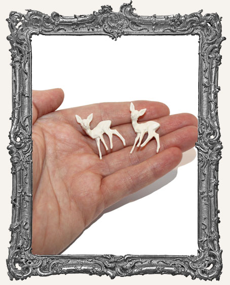 Tiny White Deer 1 Inch - Set of 2