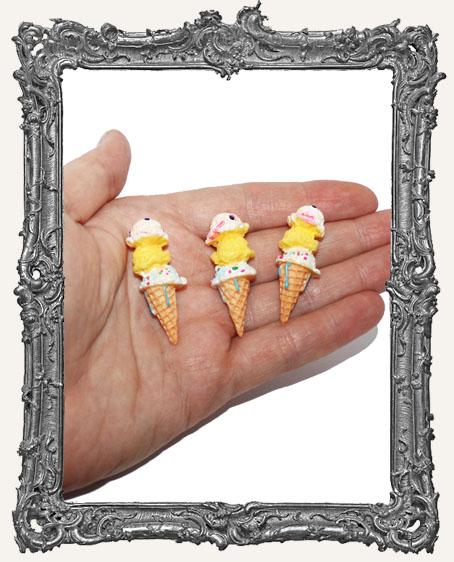 Miniature Resin Triple Dip Ice Cream Cone