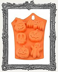 Large Orange Silicone Halloween Mold - Pumpkin Bat Skull Ghost