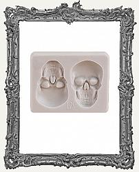 Small Grey Silicone Mold - Two Skulls