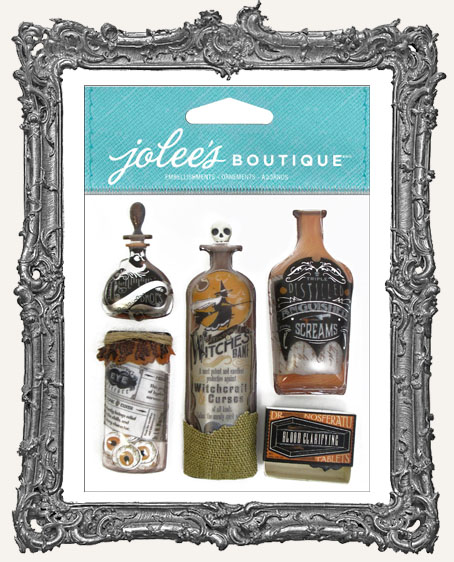 Vintage Bottles and Labels Dimensional Embellishments - 5 Pieces