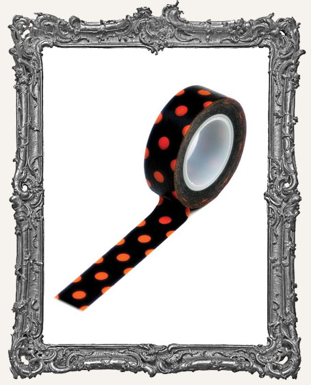 Washi Tape - Orange and Black Polka