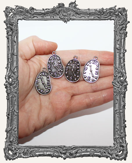 Antique SILVER Irregular Clock Charms - Set of 4