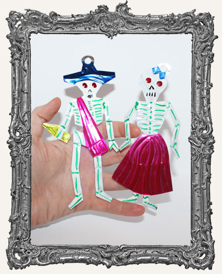 Dia De Los Muertos Calavera Tin Skeleton Ornament Set