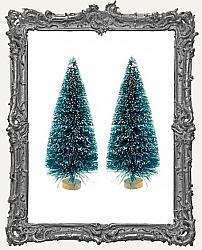 4 Inch Green Bottle Brush Trees With Frost - Set of 2
