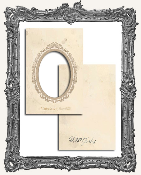 Vintage Look Chipboard Cabinet Card Photo Frame - Oval