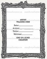 Artist Trading Coin Back Finishing Label RUBBER STAMP - Cling Mounted - Classic