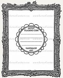 Artist Trading Coin Back Finishing Label RUBBER STAMP - Cling Mounted - Doodle Frame