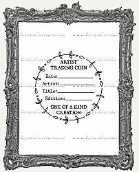 Artist Trading Coin Back Finishing Label RUBBER STAMP - Cling Mounted - Doodle Twigs