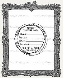 Artist Trading Coin Back Finishing Label RUBBER STAMP - Cling Mounted - Scribbles