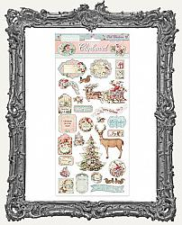 Stamperia Adhesive Chipboard - Pink Christmas