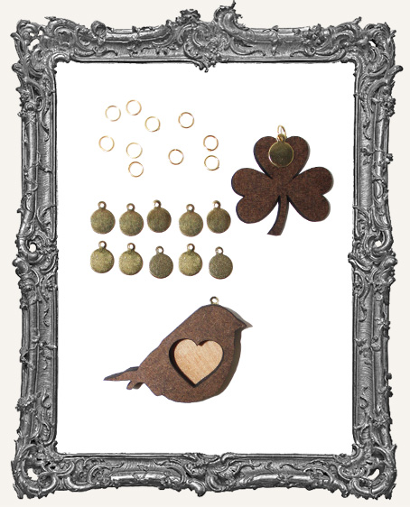 10mm Cabochon Tags and Jump Rings Silver or Brass - Pack of 20