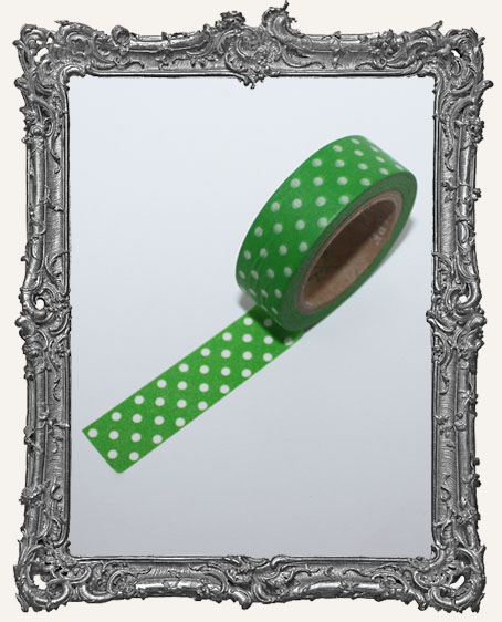 Washi Tape - Green with White Dots
