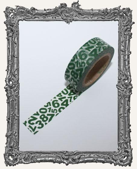 Washi Tape - Green Number Jumble