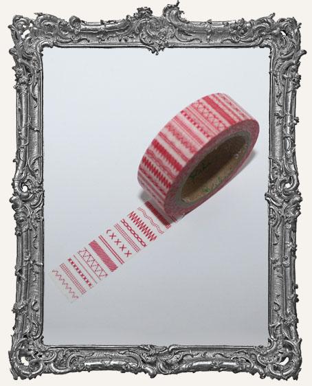 Washi Tape - Red Stitches