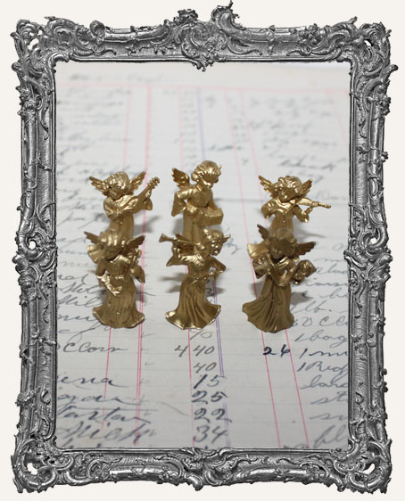 Vintage Mini Gold Angels PLAYING INSTRUMENTS - Set of 3