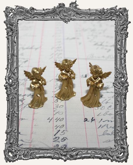 Vintage Mini Gold Praying Angels - Set of 3