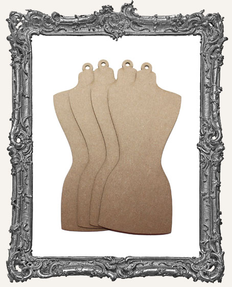 Chipboard Dress Form Tags - Set of 4