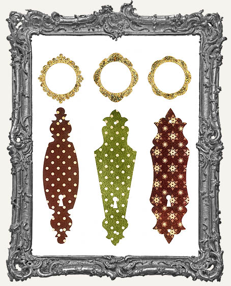Limited Edition Escutcheon Door Plate KIT - 3 Masonite Ornaments Plus Decorative Cardstock Papercut Overlays � CLASSIC VINTAGE