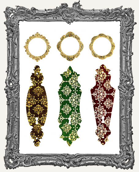 Limited Edition Escutcheon Door Plate KIT - 3 Masonite Ornaments Plus Decorative Cardstock Papercut Overlays – FANCY DAMASK