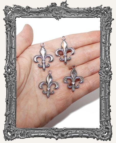 Silver Fleur-de-lis Charms - Set of 4