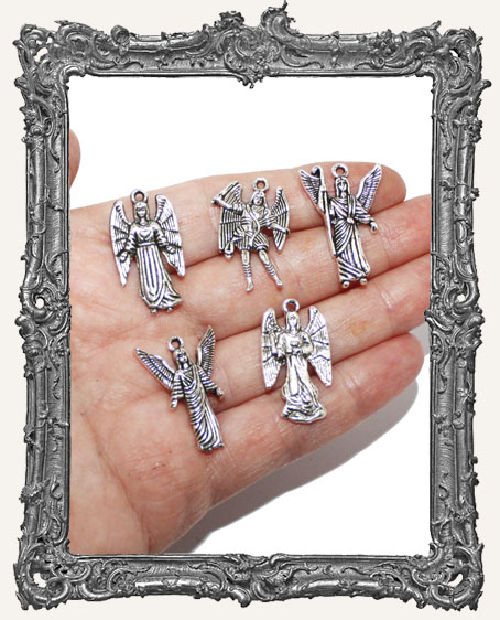 Antique Silver Guardian Angel Charms - 4 Pieces