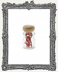 Miniature Clear Glass Filled Jar of Classic Red and White Candy Canes