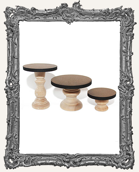 Fancy Pedestal Shrine Stands - Set of 3 - Classic