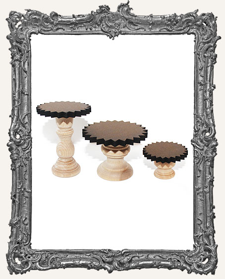 Fancy Pedestal Shrine Stands - Set of 3 - Starburst