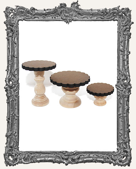 Fancy Pedestal Shrine Stands - Set of 3 - Scalloped