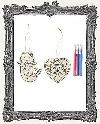 Young Artists - Cat Color In Wood Ornaments 2 Pack