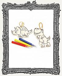 Young Artists - Dinosaur Color In Wood Ornaments 2 Pack
