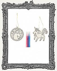 Young Artists - Unicorn Color In Wood Ornaments 2 Pack