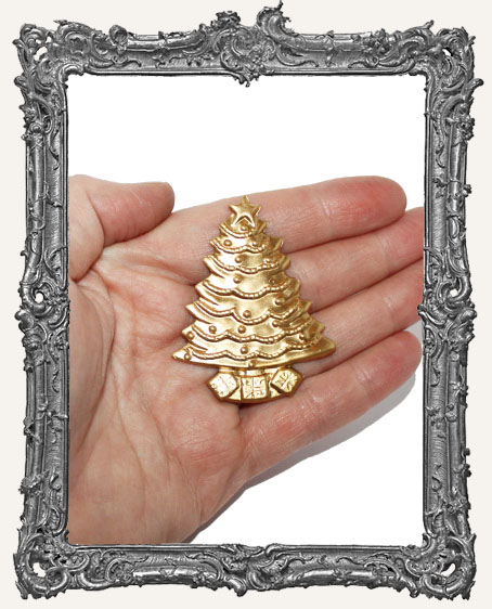 Large Brass Christmas Tree Charm - 1 Piece
