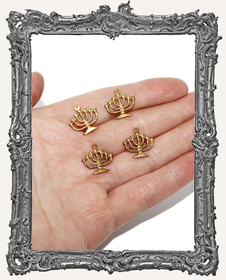 Brass Menorah Charms - Set of 4