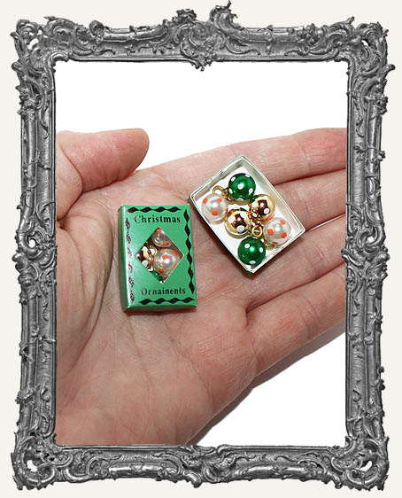 Miniature Box of Vintage Christmas Ornaments - Green