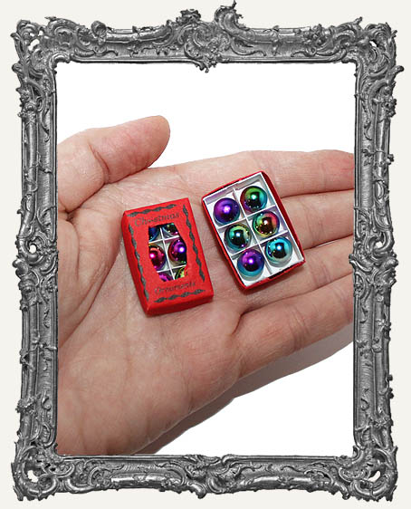 Miniature Box of Vintage Christmas Ornaments - Red