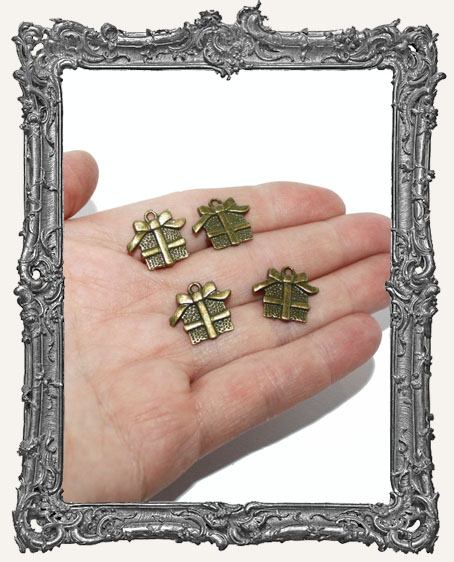 Antique Brass Christmas Present Charms - Set of 4